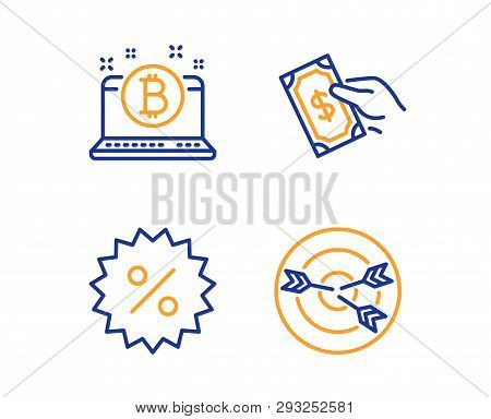 Pay Money, Discount And Bitcoin Icons Simple Set. Targeting Sign. Hold Cash, Special Offer, Cryptocu