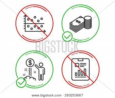 Do Or Stop. Income Money, Savings And Dot Plot Icons Simple Set. Report Document Sign. Wealth, Finan