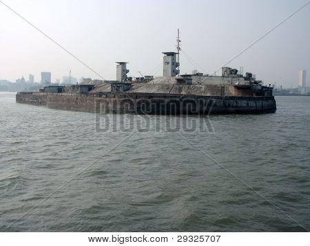 Military outpost island Mumbai harbor-