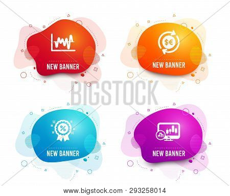 Liquid Badges. Set Of Money Currency, Stock Analysis And Discount Icons. Candlestick Chart Sign. Cas