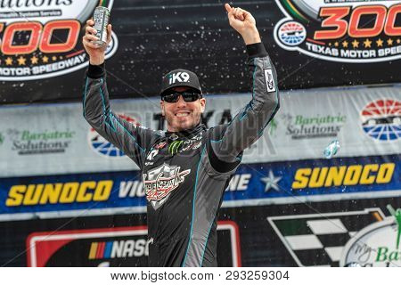 March 30, 2019 - Ft. Worth, Texas, USA: Kyle Busch (18) wins the My Bariatric Solutions 300 at Texas Motor Speedway in Ft. Worth, Texas.