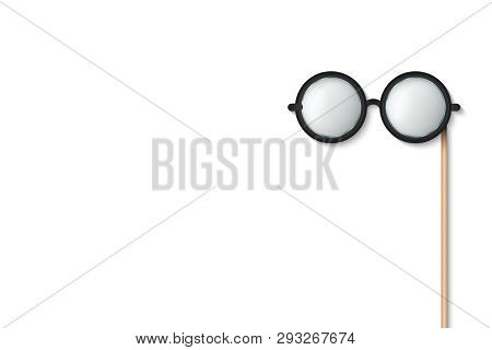 Creative Vector Illustration Of Glasses Stick, Eyeglasses Photobooth Props Isolated On Transparent B