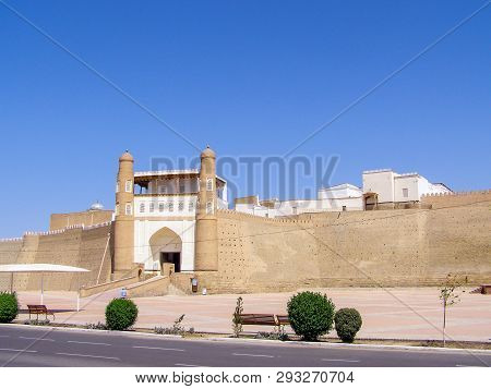 Ark Is The Ancient Fortress In Bukhara. The Ark Fortress, Towering Over The Old Registan Square And