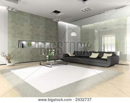 Modern Interior With Sofa And White Carpet