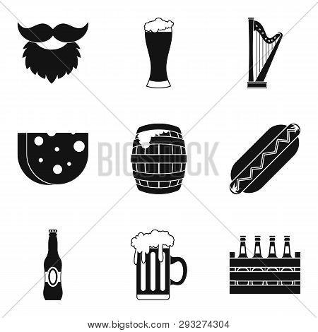 Drunken binge icons set. Simple set of 9 drunken binge icons for web isolated on white background poster