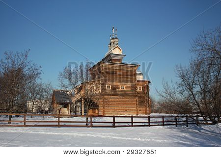 Russia, Moscow. The wooden church at Manor Kolomenskoe. poster
