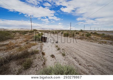 Abandoned Obsolete Crt Television From The 1990s Sits Alongside A Lonely Dirt Desert Road In The Sal