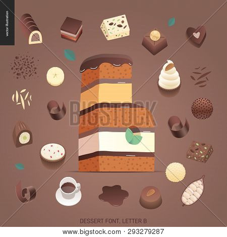Dessert font - letter B - modern flat vector concept digital illustration of temptation font, sweet lettering. Caramel, toffee, biscuit, waffle, cookie, cream and chocolate letters poster