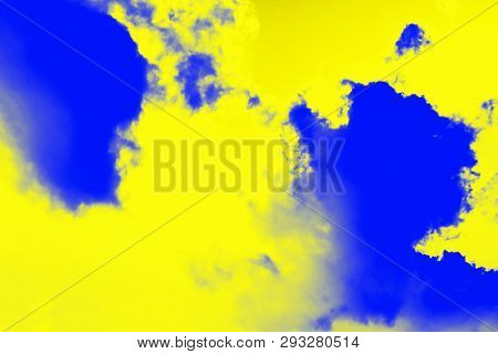Abstract Paint Splash Background. Yellow Lemon Color And Ultramarine Blue Colors. Ultra Modern Backg