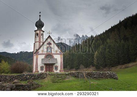 Beautiful Church Of St John Of Nepomuk (chiesetta Di San Giovanni) In Ranui Val Di Funes, Dolomites,