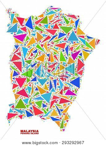 Mosaic Penang Island Map Of Triangles In Bright Colors Isolated On A White Background. Triangular Co