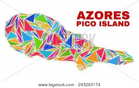 Mosaic Pico Island Map Of Triangles In Bright Colors Isolated On A White Background. Triangular Coll