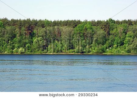 Landscape With Forest And River Bank