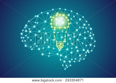 Yellow Led Light Bulb Sign In Polygonal Low Poly Plexus Blue Human Head Brain, Smart Business Innova