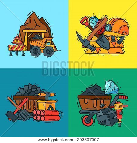 Mining Industry Pattern Vector Illustration. Profession And Occupation Of Miner. Coal Mining Equipme