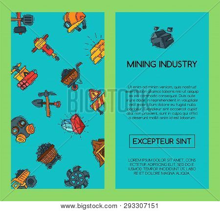 Mining Industry Banners Vector Illustration. Profession And Occupation Of Miner. Coal Mining Equipme