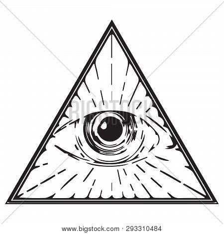 Eye Of Providence Illuminati Freemasonry Triangle Seeing All Illustration