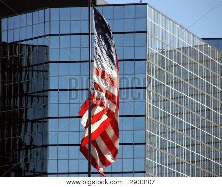Skyscraper Offices American Flag
