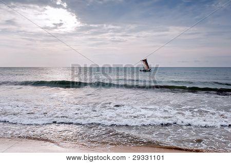 Fishing boat at sea returning from the hunt - Sri Lanka poster