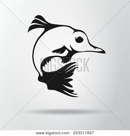 Black Fish Logo Isolated On Gray Background With Shadow. Fantastic Fish Icon, Symbol, Sign. Vector I