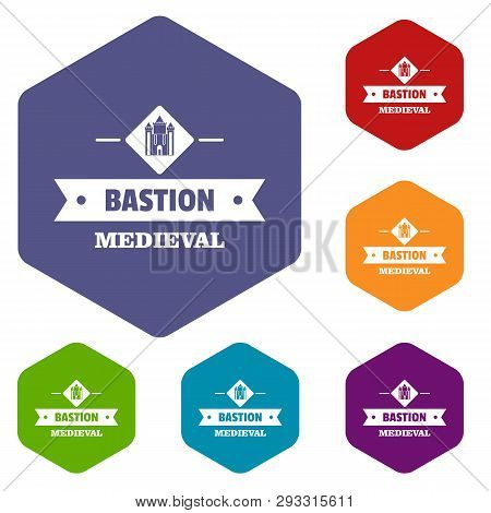 Victorian Bastion Icons Vector Colorful Hexahedron Set Collection Isolated On White