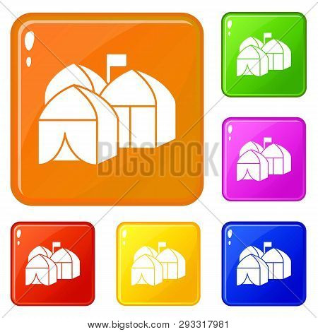 Refugee Tent City Icons Set Collection Vector 6 Color Isolated On White Background