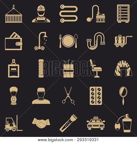 Production Icons Set. Simple Set Of 25 Production Vector Icons For Web For Any Design