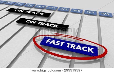 Fast Track Task Job Project Tracking Chart 3d Illustration