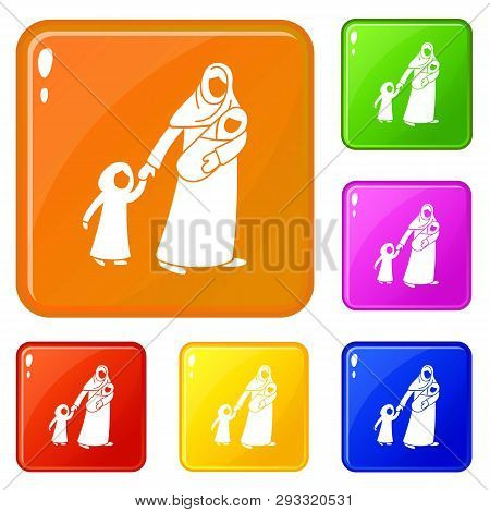 Refugee Mother Children Icons Set Collection Vector 6 Color Isolated On White Background