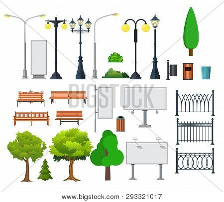 City And Outdoor Elements. Lamppost And Container, Bush And Signboards. Vector Illustration In Flat