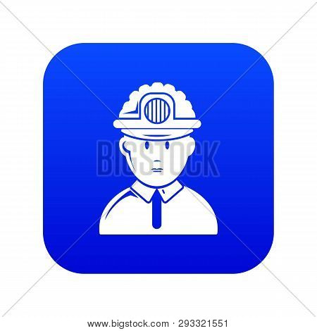 Miner Icon Blue Vector Isolated On White Background