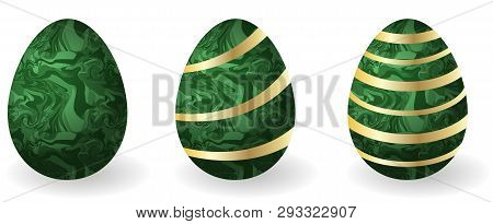Set of Easter eggs. Decorative paschal eggs Faberge, malachite with golden d?cor. Gift for traditional Easter holiday. Isolated objects, vector illustration poster