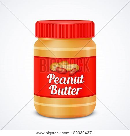 Jar Of Peanut Butter Isolated On White, Vector Illustration