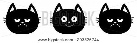 Cute Black Cat Set Line. Emotion Collection. Happy, Smiling And Sad, Angry Kitten Head Face. Optimis