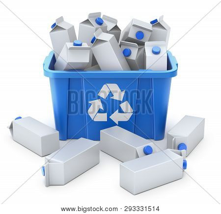 Juice Carton Boxes In Blue Recycle Crate On White Background- 3d Illustration