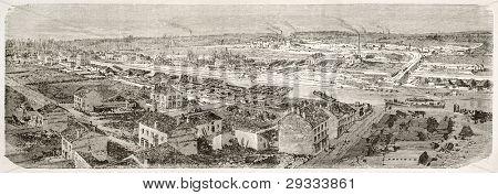 Montceau-les-Mines  old view, France. Created by Therond after photo of unknown author, published on Le Tour du Monde, Paris, 1867