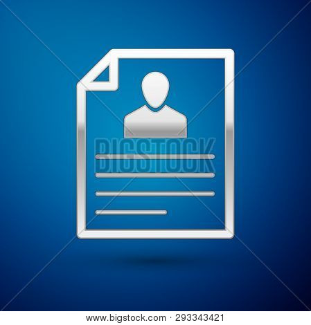 Silver Resume Icon Isolated On Blue Background. Cv Application. Searching Professional Staff. Analyz