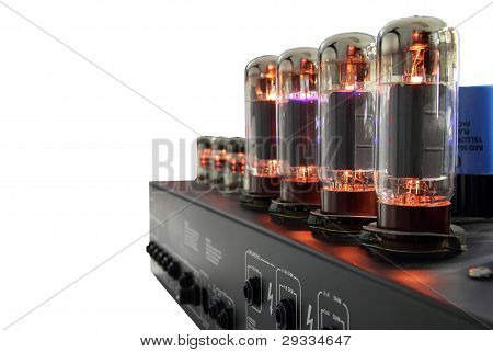 Amplifier with glass vacuum radio tubes on