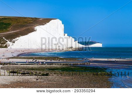 White Cliffs Of Dover Background Image. Beautiful Sunny Day On White Cliffs Of Dover In Great Britai