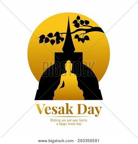 Happy Vesak Day Banner With Gold Buddha Temple , Bodhi Leaf Branch And Circle Full Moon Vector Desig