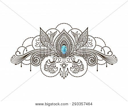 Vector Henna Tattoo Under The Breast Of A Girl. Mehndi Floral Oriental Pattern.