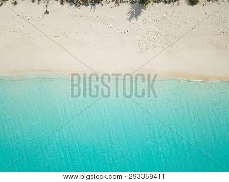 Aerial View Of Sandy Beach. Exuma Bahamas