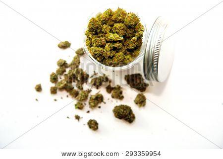 Cannabis. Marijuana. Marijuana buds for sale. Cannabis Indica. Isolated on white. Room for text. Pot for sale. marijuana profits. Medical and recreational Marijuana Business.