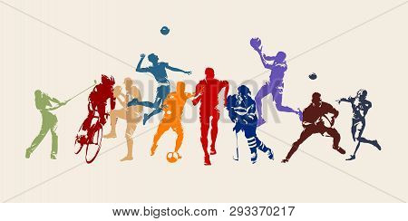 Sports, Set Of Athletes Of Various Sports Disciplines. Isolated Vector Silhouettes. Run, Soccer, Hoc