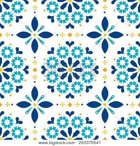 Lisbon Azulejos Tiles Seamless Vector Pattern - Portuguese Retro Old Tile Mosaic, Decorative Design