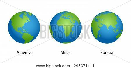 Earth With 3 Angles Globe Isolated On White Background. Illustration Vector Eps10.