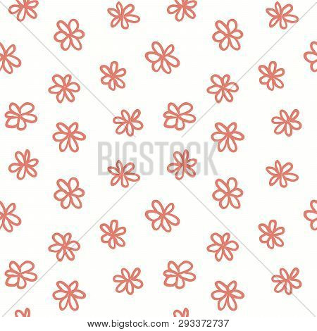 Hand Drawn Seamless Pattern With Pink Flowers On White Background. Vector Illustration. Line Drawing