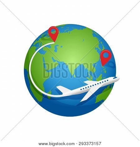 Airplane Fly Around The Planet Earth. Vector Logo Icon