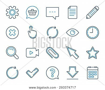 Document, Time, Calendar Line Icons. Question, Chat And Pencil Icons. Cogwheel, Download Calendar Do