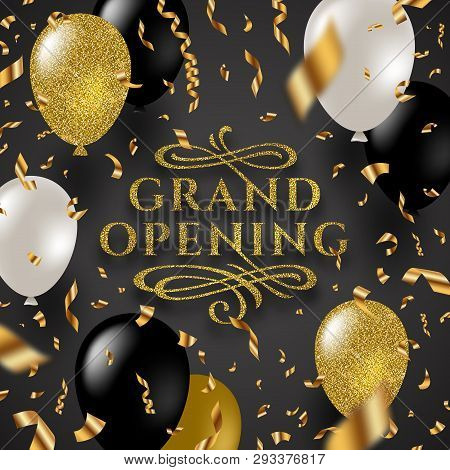 Grand Opening - Glitter Gold Logo With Flourishes Ornamental Elements Surrounded By Golden Foil Conf